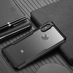 Xiaomi Redmi Note 6 Pro用ハイブリットバンパーケース クリア透明 プラスチック 鏡面 カバー Xiaomi ブラック