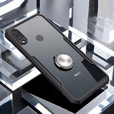 Xiaomi Redmi Note 7用360度 フルカバーハイブリットバンパーケース クリア透明 プラスチック 鏡面 アンド指輪 マグネット式 Xiaomi ブラック