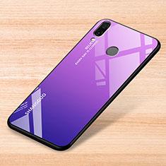 Xiaomi Redmi Note 7 Pro用ハイブリットバンパーケース プラスチック 鏡面 虹 グラデーション 勾配色 カバー Xiaomi パープル