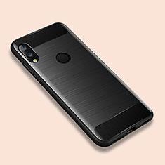 Xiaomi Redmi Note 7 Pro用シリコンケース ソフトタッチラバー ライン カバー Xiaomi ブラック