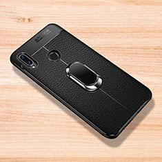 Xiaomi Redmi Note 7 Pro用シリコンケース ソフトタッチラバー レザー柄 アンド指輪 マグネット式 Xiaomi ブラック
