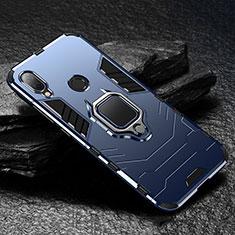 Xiaomi Redmi Note 7 Pro用ハイブリットバンパーケース スタンド プラスチック 兼シリコーン カバー マグネット式 Xiaomi ネイビー