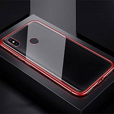 Xiaomi Redmi Note 7 Pro用ケース 高級感 手触り良い アルミメタル 製の金属製 360度 フルカバーバンパー 鏡面 カバー Xiaomi レッド