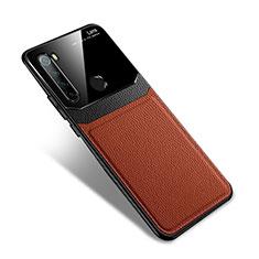 Xiaomi Redmi Note 8用シリコンケース ソフトタッチラバー レザー柄 カバー S02 Xiaomi ブラウン