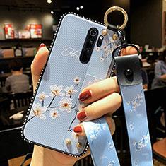 Xiaomi Redmi Note 8 Pro用シリコンケース ソフトタッチラバー 花 カバー K01 Xiaomi ブルー