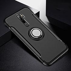 Xiaomi Redmi Note 8 Pro用ハイブリットバンパーケース プラスチック アンド指輪 マグネット式 R08 Xiaomi ブラック
