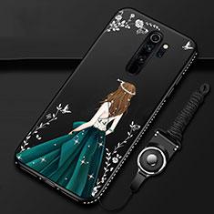 Xiaomi Redmi Note 8 Pro用シリコンケース ソフトタッチラバー バタフライ ドレスガール ドレス少女 カバー Xiaomi ブラック