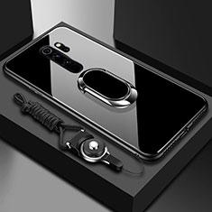 Xiaomi Redmi Note 8 Pro用ハイブリットバンパーケース プラスチック 鏡面 カバー アンド指輪 マグネット式 Xiaomi ブラック