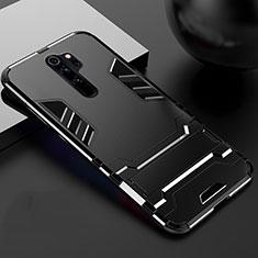 Xiaomi Redmi Note 8 Pro用ハイブリットバンパーケース スタンド プラスチック 兼シリコーン カバー Xiaomi ブラック