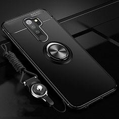 Xiaomi Redmi Note 8 Pro用極薄ソフトケース シリコンケース 耐衝撃 全面保護 アンド指輪 マグネット式 バンパー A01 Xiaomi ブラック