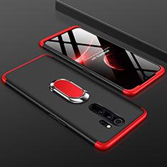 Xiaomi Redmi Note 8 Pro用ハードケース プラスチック 質感もマット 前面と背面 360度 フルカバー アンド指輪 Xiaomi レッド・ブラック