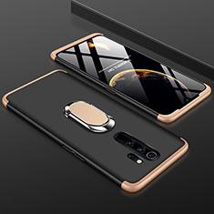 Xiaomi Redmi Note 8 Pro用ハードケース プラスチック 質感もマット 前面と背面 360度 フルカバー アンド指輪 Xiaomi ゴールド・ブラック