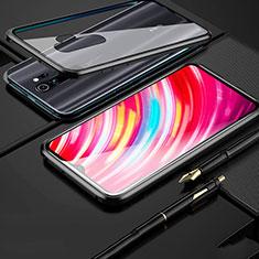 Xiaomi Redmi Note 8 Pro用ケース 高級感 手触り良い アルミメタル 製の金属製 360度 フルカバーバンパー 鏡面 カバー Xiaomi ブラック