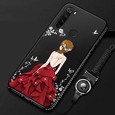 Xiaomi Redmi Note 8T用シリコンケース ソフトタッチラバー バタフライ ドレスガール ドレス少女 カバー Xiaomi レッド・ブラック