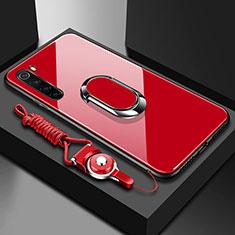 Xiaomi Redmi Note 8T用ハイブリットバンパーケース プラスチック 鏡面 カバー アンド指輪 マグネット式 Xiaomi レッド