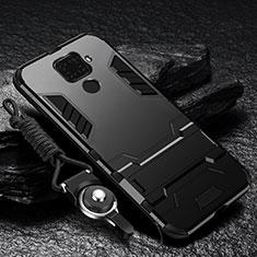 Xiaomi Redmi Note 9用ハイブリットバンパーケース スタンド プラスチック 兼シリコーン カバー R01 Xiaomi ブラック