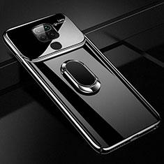 Xiaomi Redmi Note 9用ハードケース プラスチック 質感もマット アンド指輪 マグネット式 P01 Xiaomi ブラック
