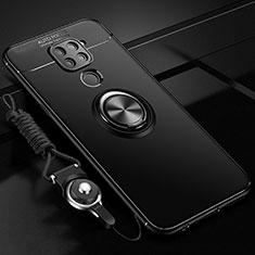 Xiaomi Redmi Note 9用極薄ソフトケース シリコンケース 耐衝撃 全面保護 アンド指輪 マグネット式 バンパー T01 Xiaomi ブラック
