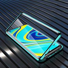 Xiaomi Redmi Note 9用ケース 高級感 手触り良い アルミメタル 製の金属製 360度 フルカバーバンパー 鏡面 カバー M01 Xiaomi グリーン
