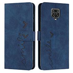 Xiaomi Redmi Note 9 Pro Max用手帳型 レザーケース スタンド 鏡面 カバー L01 Xiaomi ネイビー