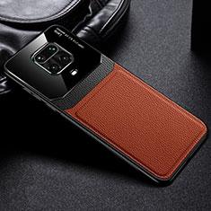 Xiaomi Redmi Note 9 Pro Max用シリコンケース ソフトタッチラバー レザー柄 カバー Xiaomi ブラウン