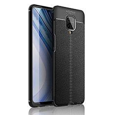 Xiaomi Redmi Note 9S用シリコンケース ソフトタッチラバー レザー柄 カバー S01 Xiaomi ブラック