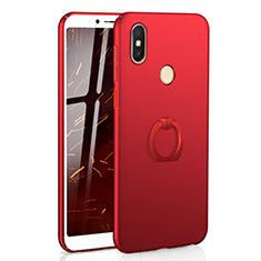 Xiaomi Redmi S2用ハードケース プラスチック 質感もマット アンド指輪 A01 Xiaomi レッド
