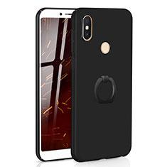 Xiaomi Redmi S2用ハードケース プラスチック 質感もマット アンド指輪 A01 Xiaomi ブラック