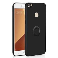 Xiaomi Redmi Y1用ハードケース プラスチック 質感もマット アンド指輪 A01 Xiaomi ブラック