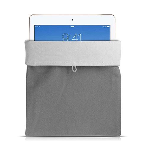 Apple iPad Pro 12.9 (2017)用ソフトベルベットポーチバッグ ケース アップル グレー