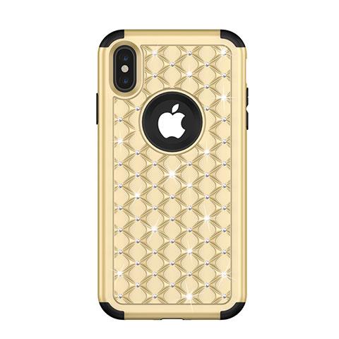 Apple iPhone X用ハイブリットバンパーケース ブリンブリン カバー 前面と背面 360度 フル アップル ゴールド・ブラック