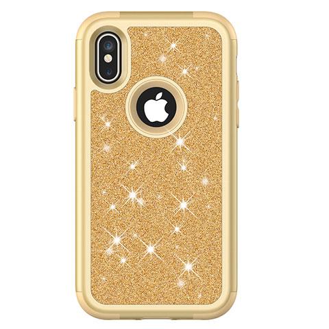 Apple iPhone X用ハイブリットバンパーケース ブリンブリン カバー 前面と背面 360度 フル U01 アップル ゴールド