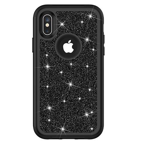 Apple iPhone X用ハイブリットバンパーケース ブリンブリン カバー 前面と背面 360度 フル U01 アップル ブラック