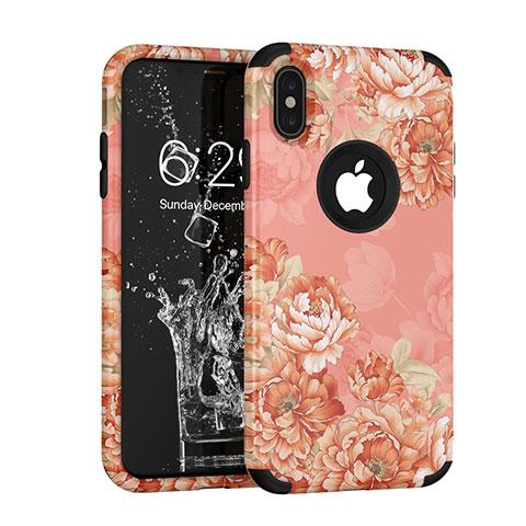 Apple iPhone X用ハイブリットバンパーケース プラスチック 兼シリコーン カバー 前面と背面 360度 フル アップル ピンク