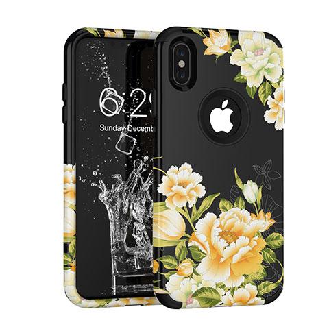 Apple iPhone X用ハイブリットバンパーケース プラスチック 兼シリコーン カバー 前面と背面 360度 フル アップル ブラック