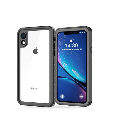 Apple iPhone XR用完全防水ケース ハイブリットバンパーカバー 高級感 手触り良い 360度 W01 アップル ブラック