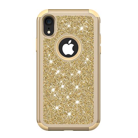 Apple iPhone XR用ハイブリットバンパーケース ブリンブリン カバー 前面と背面 360度 フル アップル ゴールド