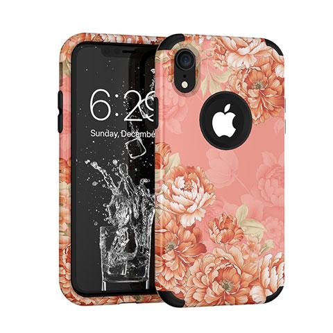 Apple iPhone XR用ハイブリットバンパーケース プラスチック 兼シリコーン カバー 前面と背面 360度 フル U01 アップル ローズゴールド