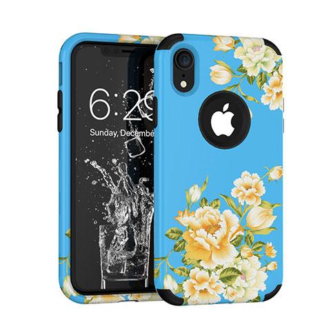 Apple iPhone XR用ハイブリットバンパーケース プラスチック 兼シリコーン カバー 前面と背面 360度 フル U01 アップル ネイビー