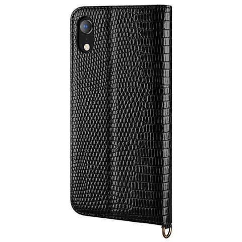 Apple iPhone XR用手帳型 レザーケース スタンド カバー L03 アップル ブラック