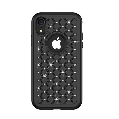 Apple iPhone XR用ハイブリットバンパーケース ブリンブリン カバー 前面と背面 360度 フル U01 アップル ブラック