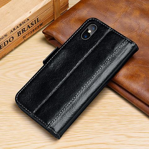 Apple iPhone Xs用手帳型 レザーケース スタンド カバー P05 アップル ブラック