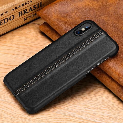 Apple iPhone Xs用ケース 高級感 手触り良いレザー柄 S11 アップル ブラック