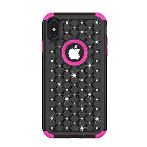 Apple iPhone Xs用ハイブリットバンパーケース ブリンブリン カバー 前面と背面 360度 フル アップル マルチカラー