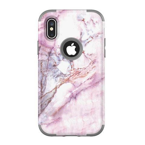 Apple iPhone Xs用ハイブリットバンパーケース プラスチック 兼シリコーン カバー 前面と背面 360度 フル U01 アップル グレー