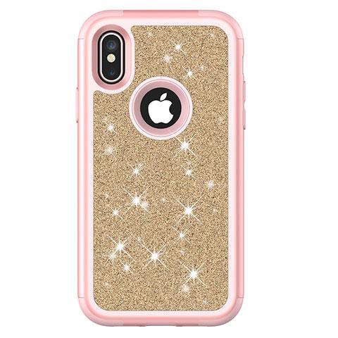 Apple iPhone Xs用ハイブリットバンパーケース ブリンブリン カバー 前面と背面 360度 フル U01 アップル ピンク