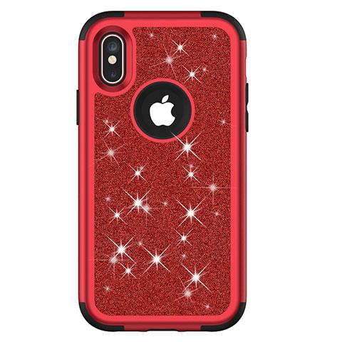 Apple iPhone Xs用ハイブリットバンパーケース ブリンブリン カバー 前面と背面 360度 フル U01 アップル レッド