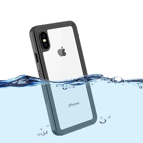 Apple iPhone Xs用完全防水ケース ハイブリットバンパーカバー 高級感 手触り良い 360度 アップル ブラック
