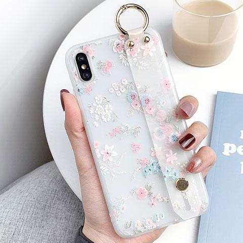 Apple iPhone Xs Max用シリコンケース ソフトタッチラバー 花 カバー S02 アップル ピンク