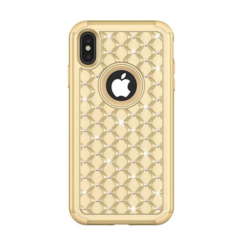 Apple iPhone Xs Max用ハイブリットバンパーケース ブリンブリン カバー 前面と背面 360度 フル アップル ゴールド